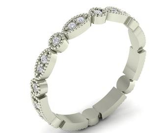One Ring 2 Styles Art Deco Antique Style Diamond Milgrain 14K Gold Full Eternity Wedding Band Ring Aniversary Ring Gem1358