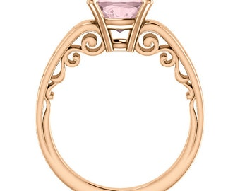 Natural AAA 8mm Antique Cushion Cut Morganite  Solid 14K Rose Gold Solitaire Engagement  Ring Set-@@@Special for you@@@ ST82702