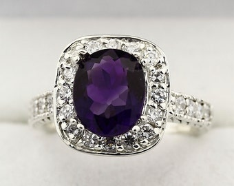 Natural purple Amethyst Solid 14K White Gold Diamond Ring--Antique
