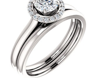 1/2ct 5mm  Forever One (GHI) Moissanite Solid 14K White Gold  Halo-Styled  Engagement  Ring Set  -ST233171****Specal****