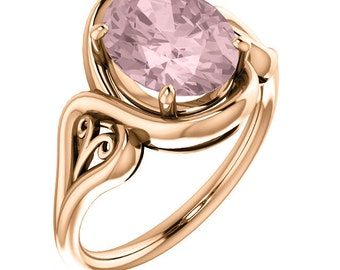 Natural AAA 10x8mm Oval  Morganite  Solid 14K Rose  Gold  Solitaire Engagement  Ring Set ST233621