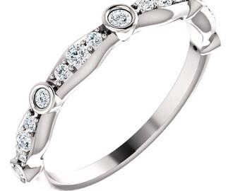 Natural Diamond Wedding Band Ring, Aniversary Ring in 14k White Gold ST233259