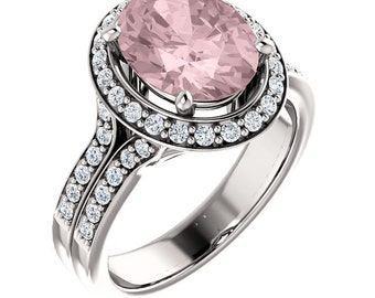 Natural AAA 10x8mm Oval  Morganite  Solid 14K White Gold Diamond halo Engagement Ring Set-ST233306