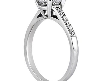 1.00 carat 6.5mm Round Forever One (GHI) Moissanite Cathedral Diamond Engagement Ring  ENR8652