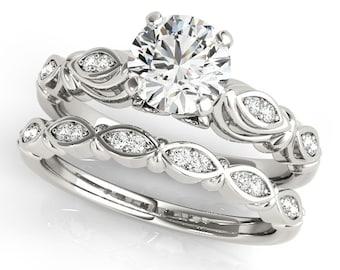 Certified Forever One Moissanite 14K White Gold Diamond  Engagement  Ring Set - OV61887