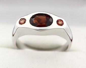 Natural Red Garnet  & Orange Sapphire  Solid 14K White Gold Diamond Ring