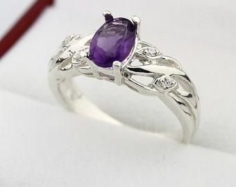 Natural VS purple Amethyst Solid 14K White Gold Diamond Ring