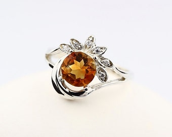 7MM  Natural Yellow Citrine Solid 14K White Gold  Diamond Ring