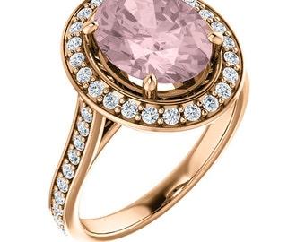 Natural AAA 10x8mm Oval  Morganite  Solid 14K Rose  Gold Diamond halo Engagement Ring Set Bridal Ring Set -ST82764