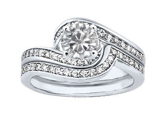 1 carat 6.5mm Round Forever One (GHI) Moissanite Solid 14K White Gold 4 Prong  Engagement  Ring set - ENS4117