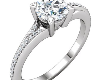 1ct Forever One (GHI) Moissanite Solid 14K White Gold   Engagement  Ring Set  - ST233772