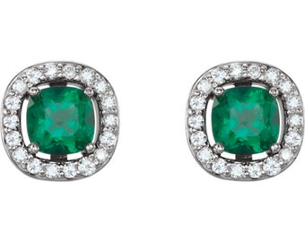 14kt White Chatham® Created Emerald & Halo Diamond Earrings-Pair   Sku: ST97182