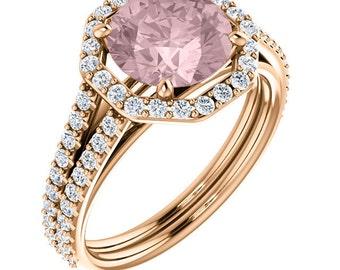Natural AAA 8mm Round Cut Morganite  Solid 14K Rose Gold Diamond Halo Engagement Ring Set ,  Bridal Ring Set  ST233802