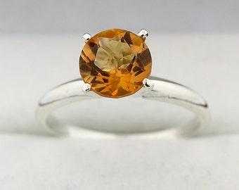 Natural Yellow Citrine Solid 14K White Gold Diamond Ring