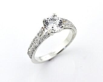 Stunning AAA 7mm  White Sapphire Solid  14k white gold diamond  Engagement Ring-Gem680