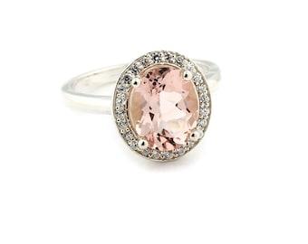 10x8mm AAA cut  1.55 ct  Natural  Morganite Solid 14K White Gold  Halo Diamond Engagement Ring w/ Fleur-de-lis Ring  - Gem883