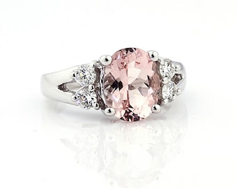 Natural Faceted cut Morganite (Pink Emerald)  Solid 14K White Gold White sapphire engagement Ring