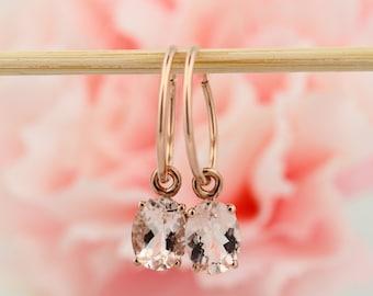 14K Rose Gold 2.00 CTTW Morganite Huggues/ hoop earrings
