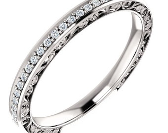 Stackable 14kt White  ,Rose or Yellow Gold  Floral Sculptural Diamond Half Eternity Band Ring  ST233571, Gem1218 *****On Promotion****