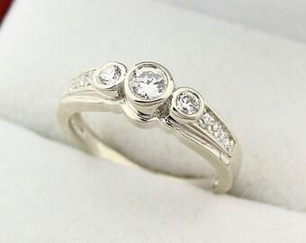 Solid 14K White Gold White sapphire Diamond Ring