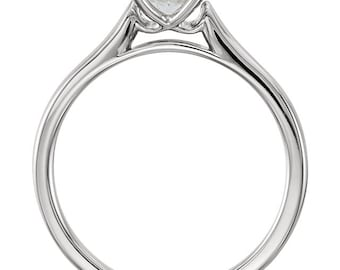 6.5mm Round Forever One (GHI) Moissanite Solid 14K White Gold  Solitaire  Engagement Ring ST233543