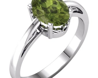 14k Solid White Gold 9x7 mm Oval Natural Birthday Gemstone(peridot ,garnet,citrine or Amethyst)  Scroll Ring ---Specail   Gem945