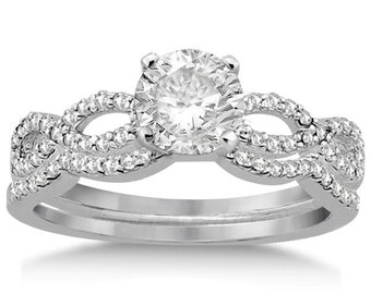 1 carat 6.5mm Round Forever One (GHI) Moissanite Twisted Infinity Diamond Engagement Ring Set   - ens4155-1110