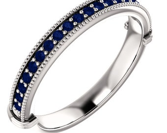Stackable Half Eternity Blue Sapphire Milgrain Wedding Band Ring   In 14k White  ,Rose or Yellow Gold ST233976*****On Promotion*****