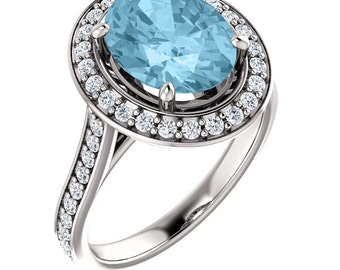 Natural AAA 10x8mm Oval  Aquamarine Solid 14K white Gold Diamond Engagement Ring Set-ST82782