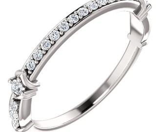 1/4 CTW Diamond 14K White / Yellow / Rose  Gold  Natural Round Diamond Wedding Band  Aniversary Ring ST233248-1153b