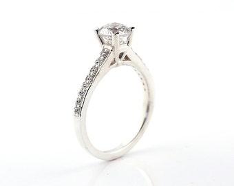 Stunning 6.5mm White Sapphire Solid 14k white gold diamond Engagement Ring