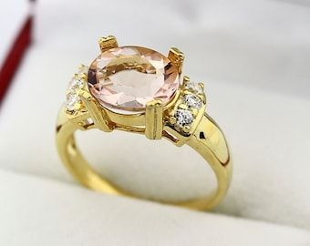 Stunning AAA  Natural Morganite  Solid 14K Yellow Gold Diamond Ring
