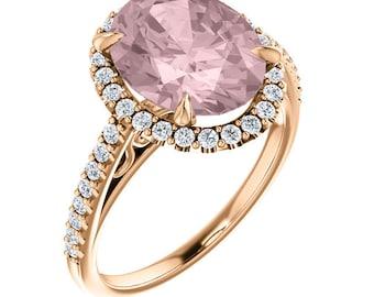 Natural Morganite Ring Set, Diamond Halo Morganite Engagement Ring Band Set, Roes gold, 11x9mm  Oval gemstone - ST233953