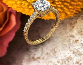 1.75CT Round Moissanite (DEF) Fancy Rope  Style  Engagement Ring In 14k Gold  ,Diamond Ring ,Moissanite wedding ring  Gift For Her