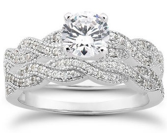 1 carat 6.5mm Round Forever One (GHI) Moissanite Solid 14K White Gold Engagement  Ring set  ENS4142