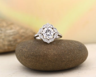 Certified  Forever One Moissanite Colorless Engagement Ring Diamond Halo Wedding Ring Floral Design in  14K White Gold -Gem1141