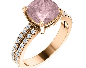 Natural AAA 8mm Antique Cushion Cut Morganite  Solid 14K rose  Gold Diamond Engagement Ring Set ST82699