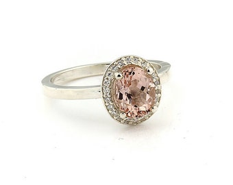 1.10 ct 8x6 mm Natural Oval Fancy Color  Morganite  Solid 14K White Gold Diamond Engagement Halo  Ring-Gem952