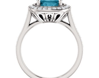 Natural AAA 8mm Antique Square Checkerboard London blue Topaz  Solid 14K white Gold Diamond Engagement Ring Set-ST82782