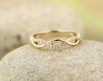 Infinity Band 14K White / Yellow / Rose  Gold  Natural Round Diamond Wedding Half Eternity Band  Aniversary Ring ST233072