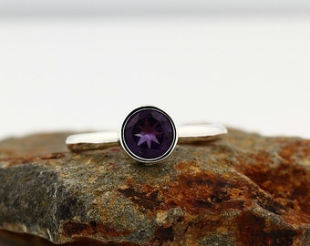 Natural Purple Amethyst  Solid 14K White Gold Stack Ring 6mm