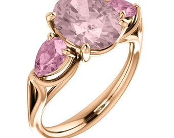 Natural AAA 10x8mm Oval Morganite Solid 14K Rose Gold 3 Stone Pink Tourmaline  Engagement Ring Set ST82848-1497