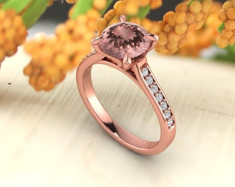 8mm Round Morganite  & Diamond Cathedral  Style Engagement Ring In 14k Rose Gold