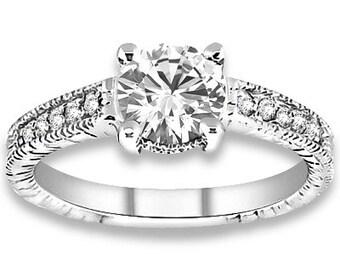 1.00 carat 6.5mm Round Forever One (GHI) Moissanite Diamond Vintage Engagement Ring ENR756