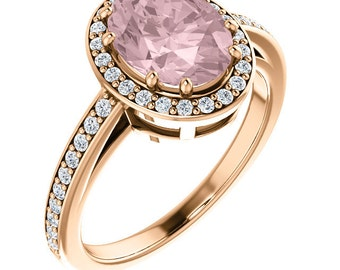 Natural  AAA 9x7 mm Pink Morganite  Solid 14K Rose Gold Diamond engagement  Halo Ring - ST233199