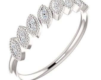 14kt White Leaf Ring  Natural Round Diamond Wedding Band , Aniversary Ring ST233084