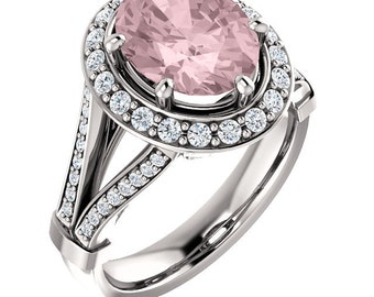 Natural AAA 10x8mm Oval  Morganite  Solid 14K white Gold Diamond Engagement Ring Set-ST233422