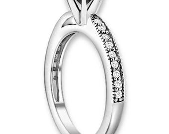 Natural  AAA 1.25 ct  Black & White  Diamond  Engagement Ring In 14K White / Yellow / Rose Gold ENS4171