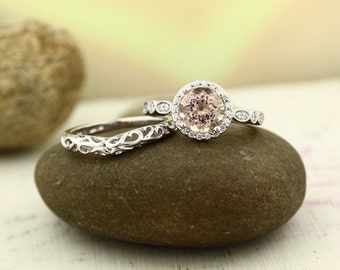 Art deco Bridal Set Fancy Morganite Wedding Set with Floral band 14K White Gold Wedding Set(Other metals & stone options available) Gem1160