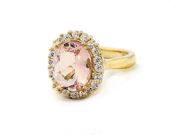 11x9mm Natural  Morganite  Solid 14K Yellow Gold Diamond  Ring
